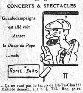 """Vignetta pubblicitaria ironica (""""Le Matin"""" 7/2/1914)"""